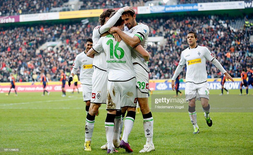 Martin Stranzl of Moenchengladbach celebrates scoring the first goal with his team during the Bundesliga match between VfL Borussia Moenchengladbach...
