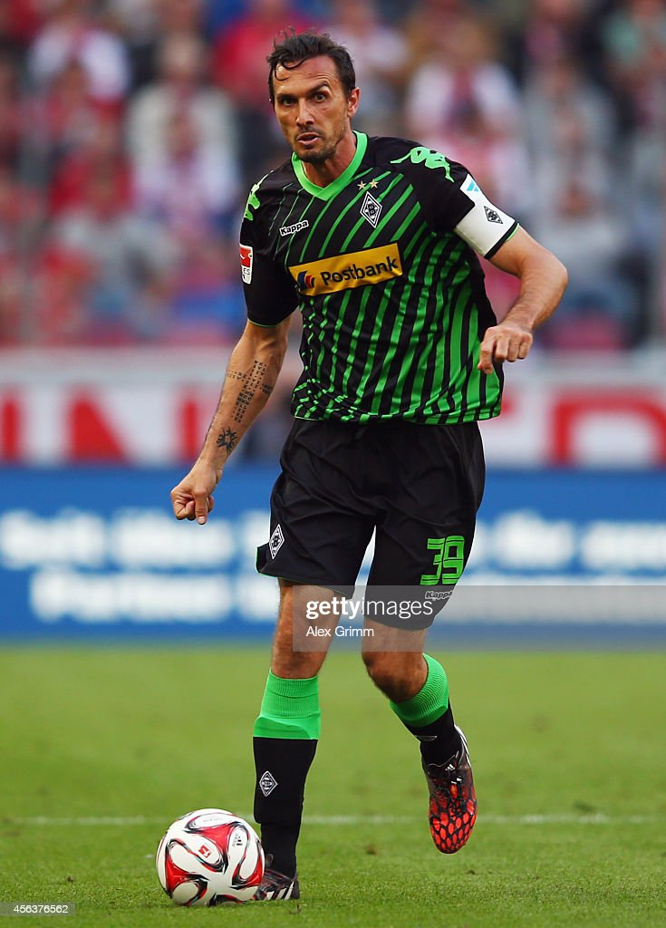 Martin Stranzl of Moenchengladbach controles the ball during the Bundesliga match between 1 FC Koeln and Borussia Moenchengladbach at...