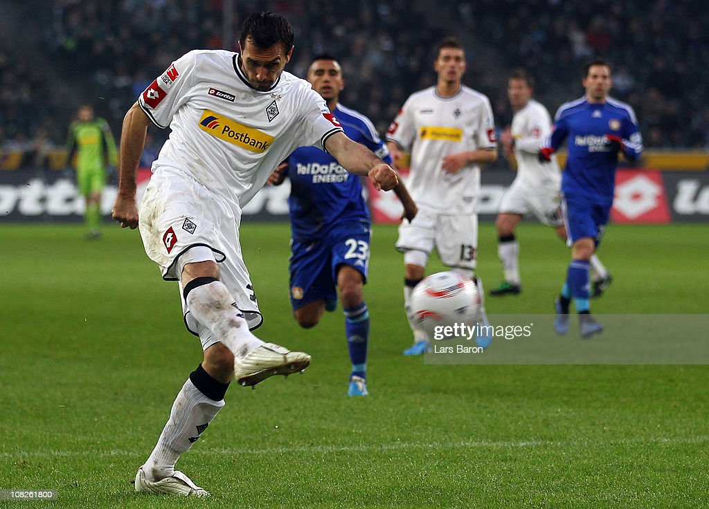<a gi-track='captionPersonalityLinkClicked' href=/galleries/search?phrase=Martin+Stranzl&family=editorial&specificpeople=674140 ng-click='$event.stopPropagation()'>Martin Stranzl</a> of Moenchengladbach scores his teams first goal during the Bundesliga match between Borussia Moenchengladbach and Bayer Leverkusen at Borussia Park Stadium on January 23, 2011 in Moenchengladbach, Germany.