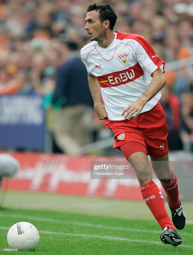 Martin Stranzl of Stuttgart in action during the Bundesliga match between Werder Bremen and VFB Stuttgart at the Weser Stadium on August 27 2005 in...