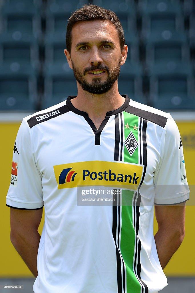 Martin Stranzl poses during the team presentation of Borussia Moenchengladbach at BorussiaPark on July 10 2015 in Moenchengladbach Germany