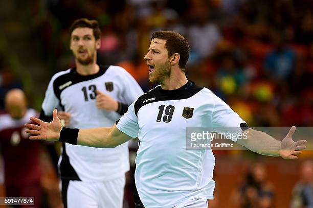 Martin Strobel of Germany celebrates during the Men's Quarterfinal Handball contest against Qatar at Future Arena on Day 12 of the Rio 2016 Olympic...