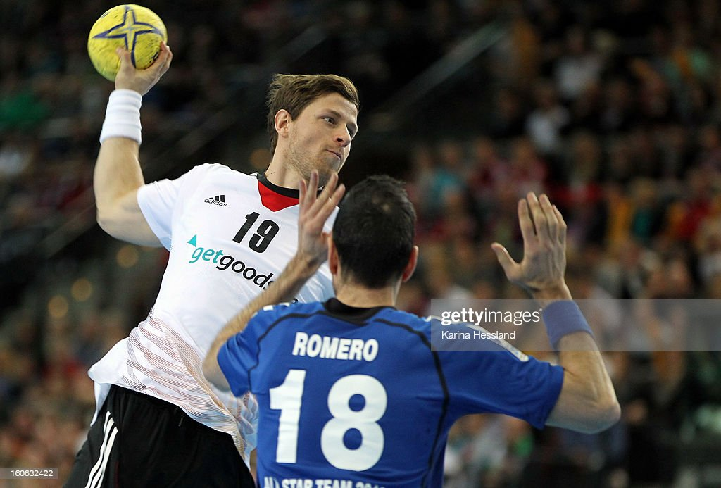<a gi-track='captionPersonalityLinkClicked' href=/galleries/search?phrase=Martin+Strobel&family=editorial&specificpeople=4479733 ng-click='$event.stopPropagation()'>Martin Strobel</a> of Germany on the ball during the match between Germany and Bundesliga All Stars on February 2, 2013 in Leipzig, Germany.
