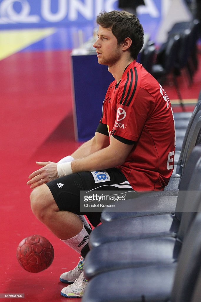 Martin Strobel of Germany warms up prior to the Men's European Handball Championship second round group one match between Poland and Germany at Beogradska Arena on January 25, 2012 in Belgrade, Serbia.