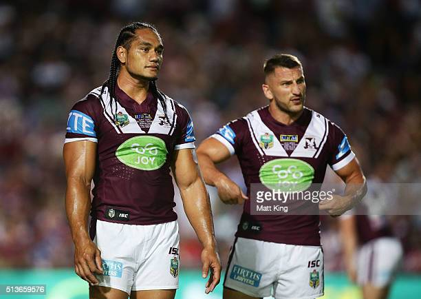 Martin Taupau and Lewis Brown of the Sea Eagles warm up before the round one NRL match between the Manly Warringah Sea Eagles and the Canterbury...