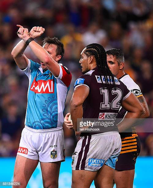 Martin Taupau of the Sea Eagles is placed on report during the round 10 NRL match between the Manly Sea Eagles and the Brisbane Broncos at Suncorp...