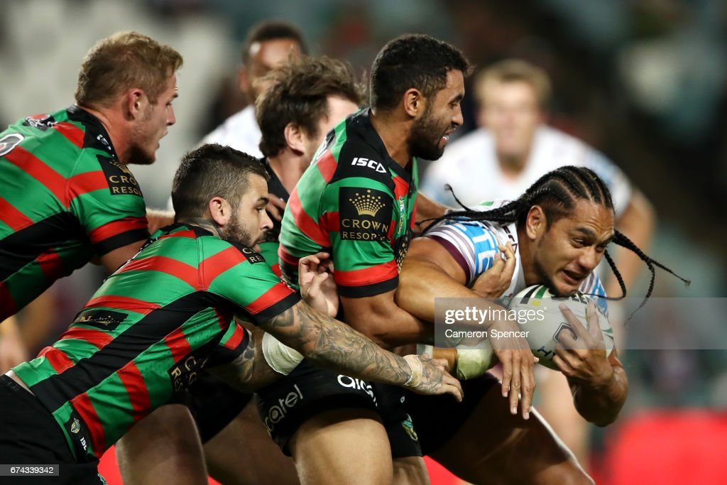 Martin Taupau of the Sea Eagles is tackled during the round nine NRL match between the South Sydney Rabbitohs and the Manly Sea Eagles at Allianz Stadium on April 28, 2017 in Sydney, Australia.