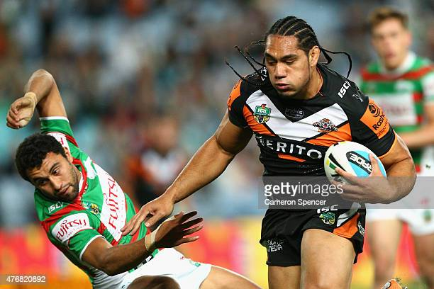 Martin Taupau of the Tigers heads for the tryline dring the round 14 NRL match between the Wests Tigers and the South Sydney Rabbitohs at ANZ Stadium...