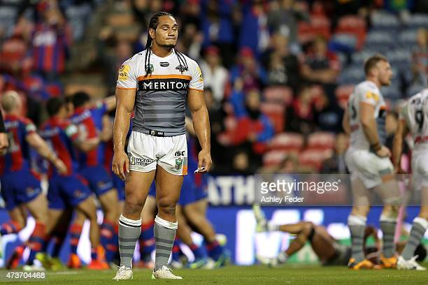 Martin Taupau of the Tigers looks dejected after losing the round 10 NRL match between the Newcastle Knights and the Wests Tigers at Hunter Stadium...