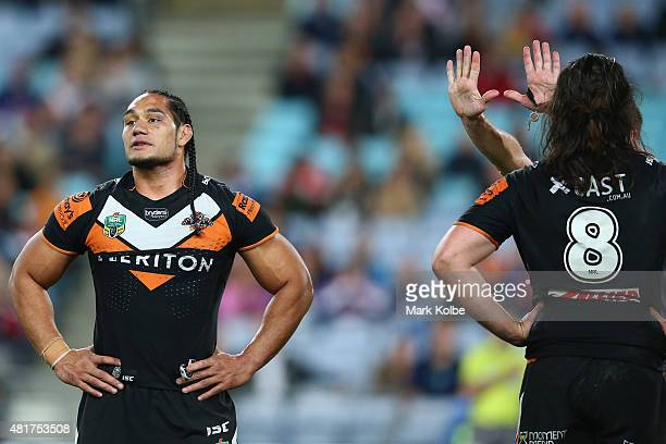Martin Taupau of the Wests Tigers reacts after being given ten minutes in the sin bin during the round 20 NRL match between the Wests Tigers and the...