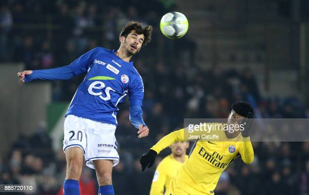 Martin Terrier of Strasbourg Presnel Kimpembe of PSG during the French Ligue 1 match between RC Strasbourg Alsace and Paris Saint Germain at Stade de...