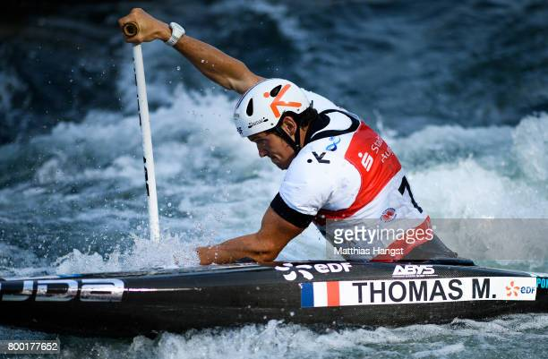 Martin Thomas of France competes during the Canoe Single Men's Qualification of the ICF Canoe Slalom World Cup on June 23 2017 in Augsburg Germany