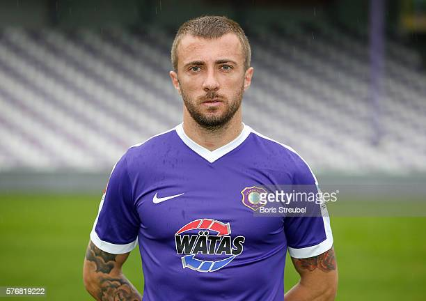 Martin Toshev of Erzgebirge Aue poses during the FC Erzgebirge Aue Team Presentation at Sparkassenerzgebirgsstadion on July 17 2016 in Aue Germany