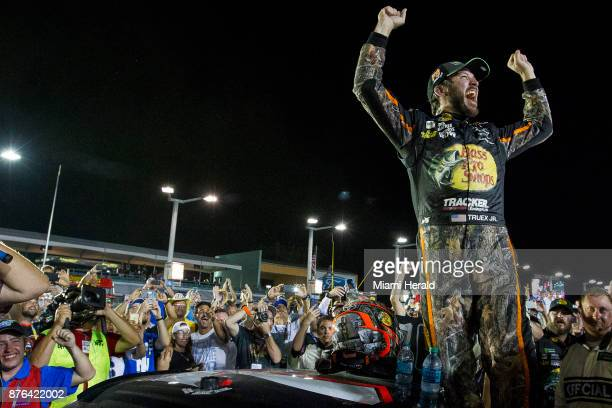 Martin Truex Jr #78 reacts after winning the Monster Energy NASCAR Cup Series and the Ford EcoBoost 400 Championships on Sunday Nov 19 2017 at the...