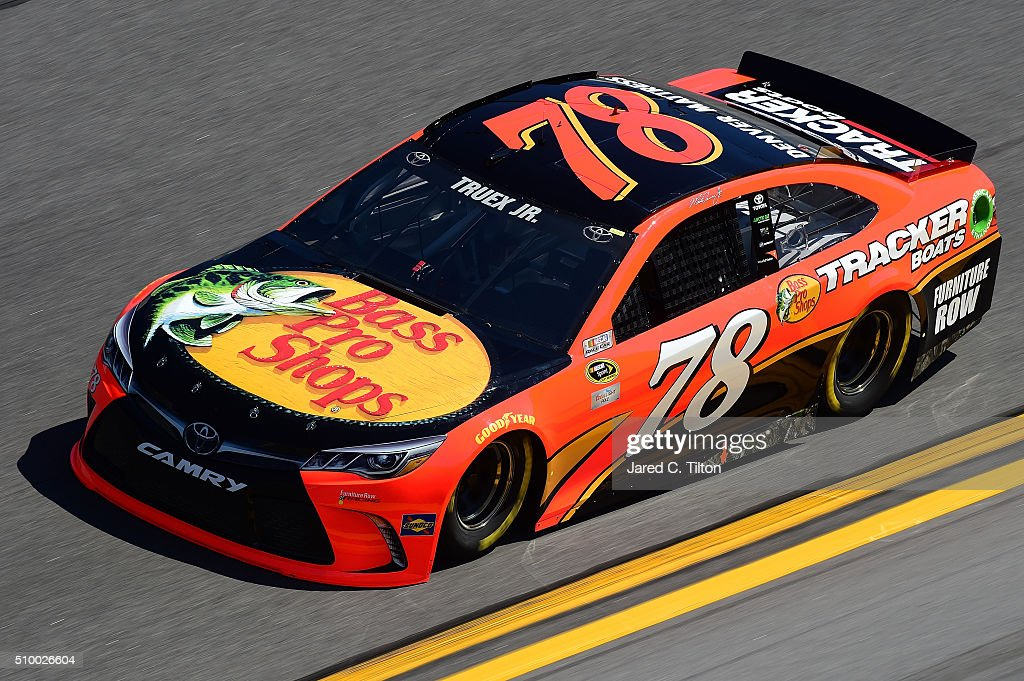 <a gi-track='captionPersonalityLinkClicked' href=/galleries/search?phrase=Martin+Truex+Jr.&family=editorial&specificpeople=184514 ng-click='$event.stopPropagation()'>Martin Truex Jr.</a>, driver of the #78 Bass Pro Shops/Tracker Boats Toyota, practices for the NASCAR Sprint Cup Series Daytona 500 at Daytona International Speedway on February 13, 2016 in Daytona Beach, Florida.