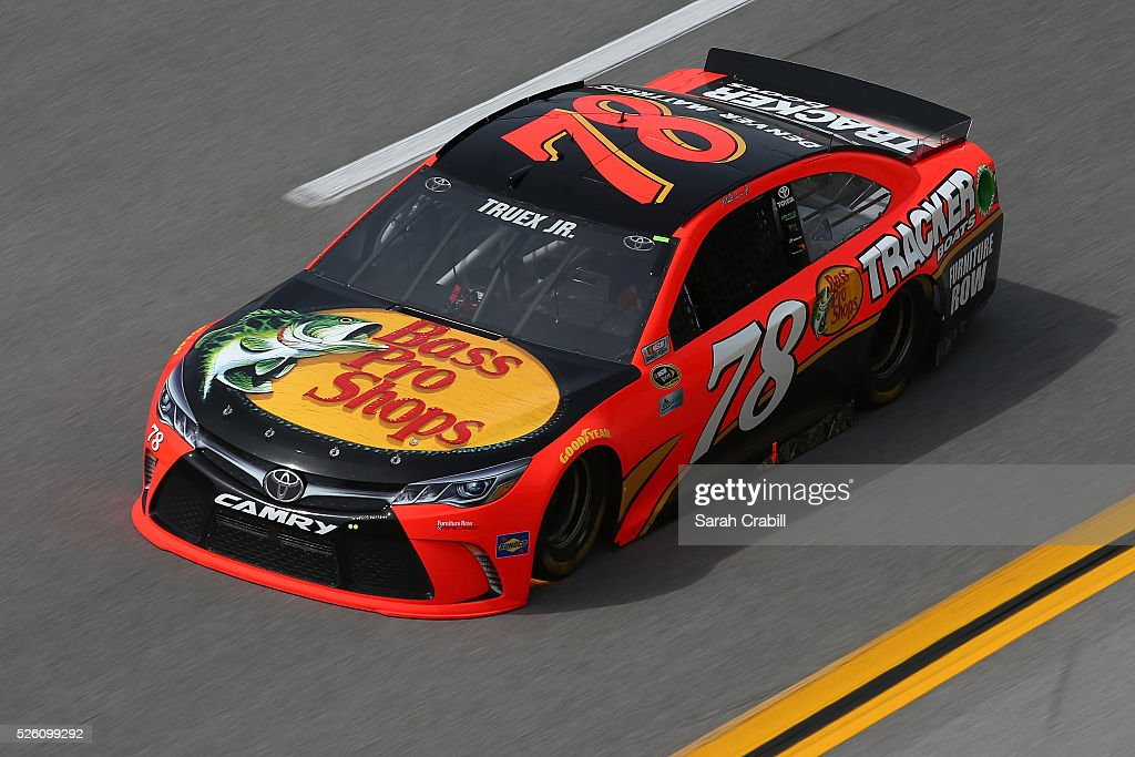 Martin Truex Jr, driver of the #78 Bass Pro Shops/TRACKER Boats Toyota, practices for the NASCAR Sprint Cup Series GEICO 500 at Talladega Superspeedway on April 29, 2016 in Talladega, Alabama.