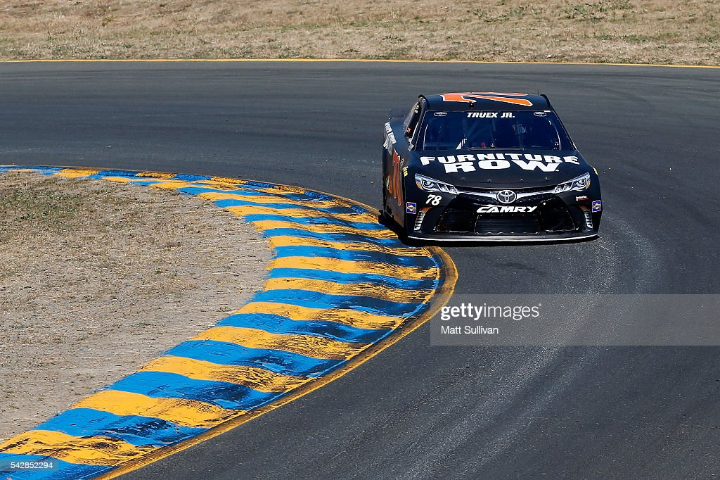 Martin Truex Jr, driver of the #78 Furniture Row Toyota, practices for the NASCAR Sprint Cup Series Toyota/Save Mart 350 at Sonoma Raceway on June 24, 2016 in Sonoma, California.