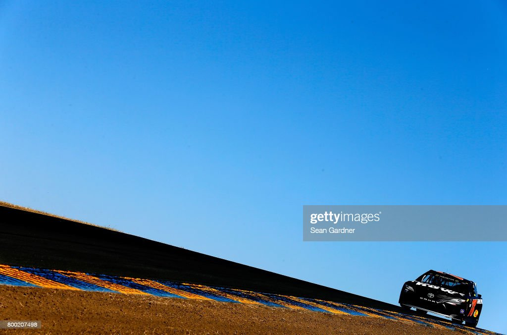 Martin Truex Jr., driver of the #78 Furniture Row/Denver Mattress Toyota, drives during practice for the Monster Energy NASCAR Cup Series Toyota/Save Mart 350 at Sonoma Raceway on June 23, 2017 in Sonoma, California.