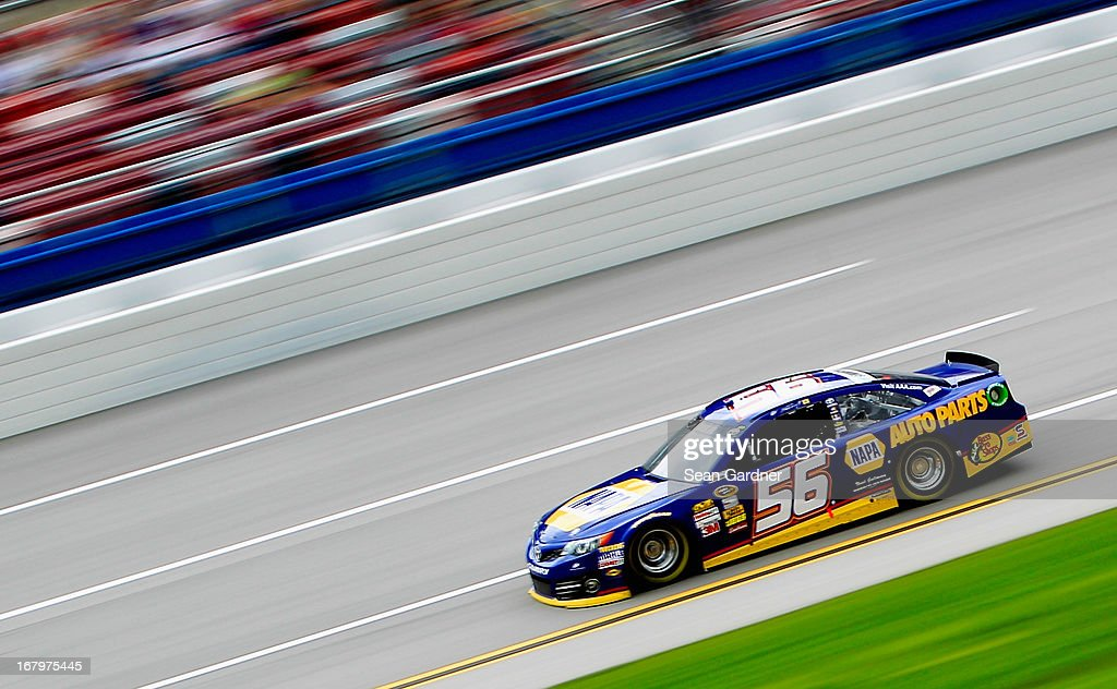 Martin Truex Jr., driver of the #56 NAPA Auto Parts Toyota, drives on track during practice for the NASCAR Sprint Cup Series Aaron's 499 at Talladega Superspeedway on May 3, 2013 in Talladega, Alabama.