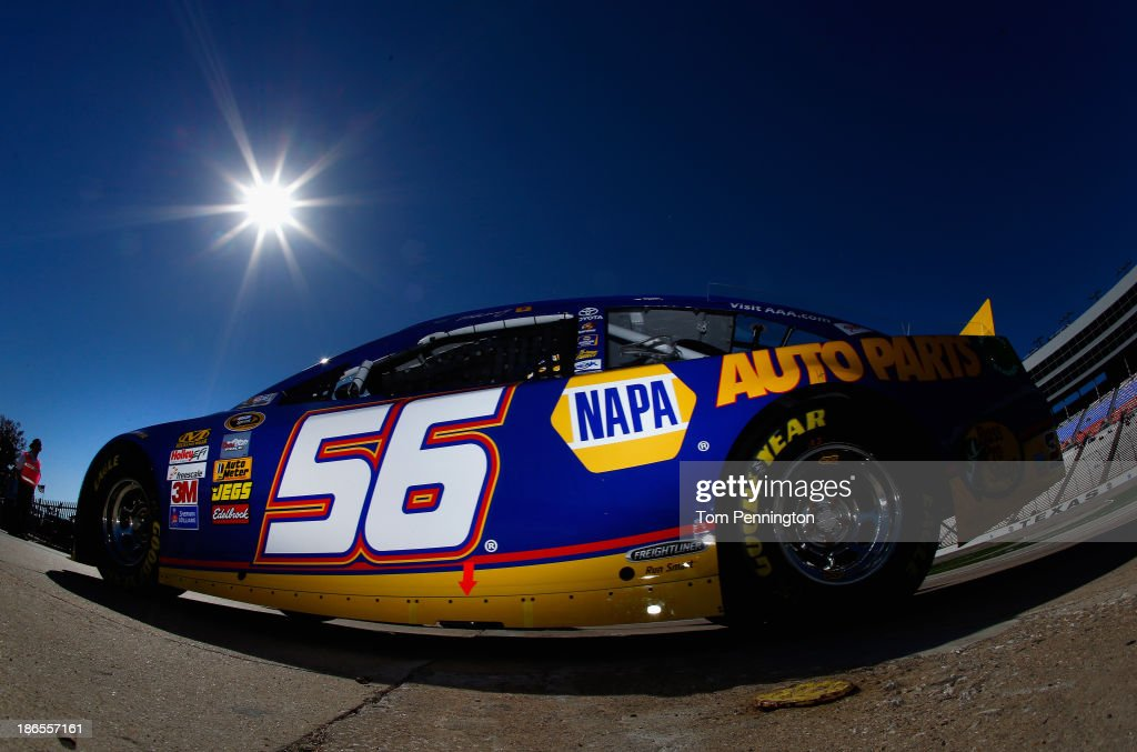Martin Truex Jr., driver of the #56 NAPA Auto Parts Toyota, drives through the garage area during practice for the NASCAR Sprint Cup Series AAA Texas 500 at Texas Motor Speedway on November 1, 2013 in Fort Worth, Texas.