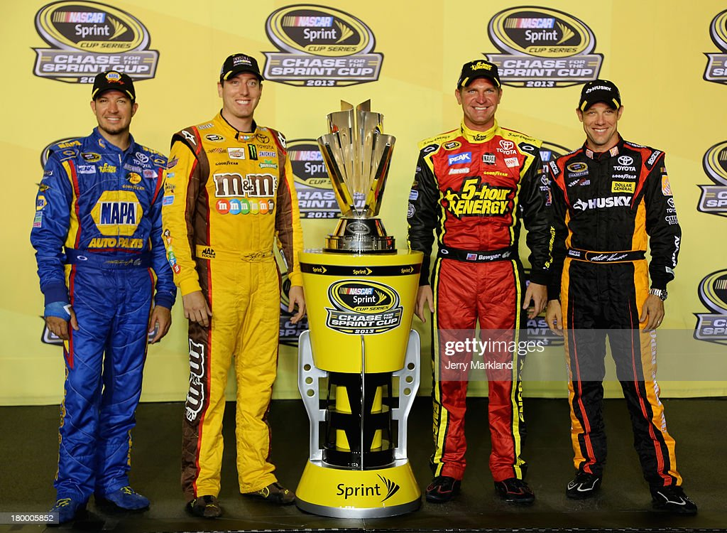 <a gi-track='captionPersonalityLinkClicked' href=/galleries/search?phrase=Martin+Truex+Jr.&family=editorial&specificpeople=184514 ng-click='$event.stopPropagation()'>Martin Truex Jr.</a>, driver of the #56 NAPA Auto Parts Toyota, <a gi-track='captionPersonalityLinkClicked' href=/galleries/search?phrase=Kyle+Busch&family=editorial&specificpeople=211123 ng-click='$event.stopPropagation()'>Kyle Busch</a>, driver of the #18 M&M's American Heritage Chocolate Toyota, <a gi-track='captionPersonalityLinkClicked' href=/galleries/search?phrase=Clint+Bowyer&family=editorial&specificpeople=537951 ng-click='$event.stopPropagation()'>Clint Bowyer</a>, driver of the #15 5-hour ENERGY Toyota, and <a gi-track='captionPersonalityLinkClicked' href=/galleries/search?phrase=Matt+Kenseth&family=editorial&specificpeople=204192 ng-click='$event.stopPropagation()'>Matt Kenseth</a>, driver of the #20 Home Depot / Husky Toyota, pose with the Sprint Cup trophy after qualifying for the Chase for the Sprint Cup during the NASCAR Sprint Cup Series 56th Annual Federated Auto Parts 400 at Richmond International Raceway on September 7, 2013 in Richmond, Virginia.