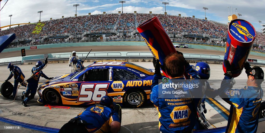 Martin Truex Jr., driver of the #56 NAPA Auto Parts Toyota, pits during the NASCAR Sprint Cup Series Ford EcoBoost 400 at Homestead-Miami Speedway on November 18, 2012 in Homestead, Florida.
