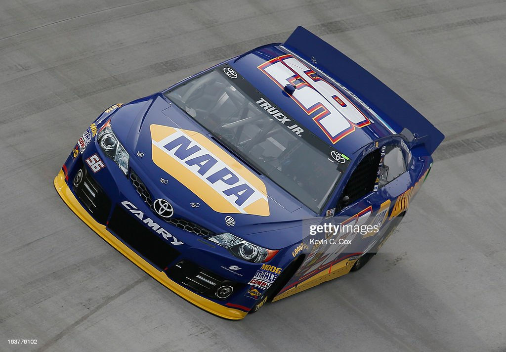 Martin Truex Jr., driver of the #56 NAPA Auto Parts Toyota, qualifies for the NASCAR Sprint Cup Series Food City 500 at Bristol Motor Speedway on March 15, 2013 in Bristol, Tennessee.