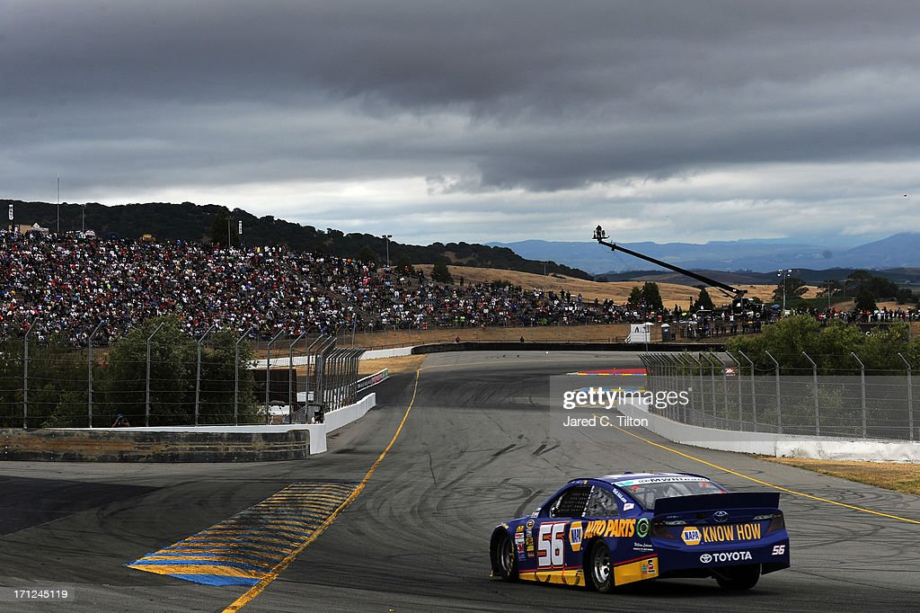 Martin Truex Jr., driver of the #56 NAPA Auto Parts Toyota, races during the NASCAR Sprint Cup Series Toyota/Save Mart 350 at Sonoma Raceway on June 23, 2013 in Sonoma, California.