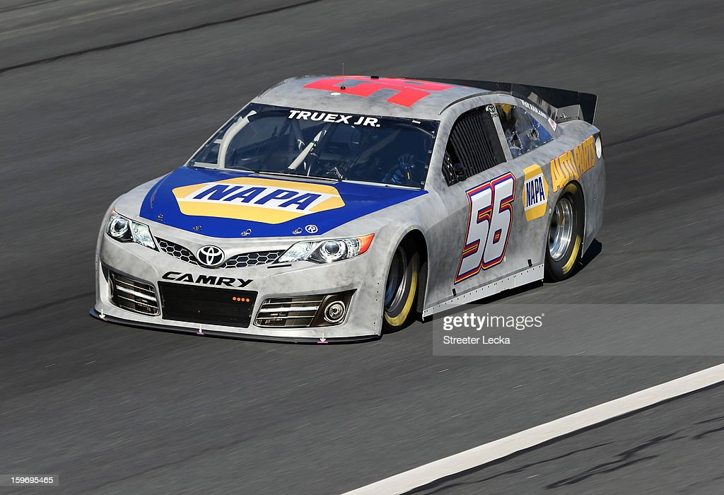 Martin Truex Jr., driver of the #56 Toyota, in action during NASCAR Testing at Charlotte Motor Speedway on January 18, 2013 in Charlotte, North Carolina.