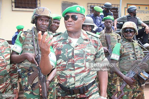 Martin Tumenta commander of the African peacekeeping forces in Central African Republic known as MISCA speaks to the press on February 8 2014 at...