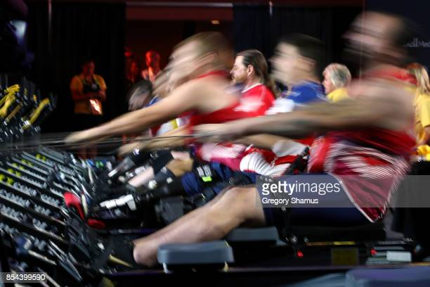 Martin Tye of the United Kingdom and Ivan Sears of the United States competes in the Indoor Rowing Men's IR4 Four Minute Endurance Final during the...