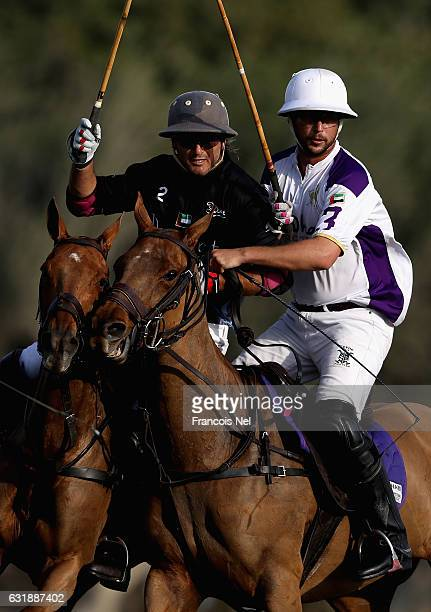 Martin Valent of Desert Palm Polo and Joaquin Pittaluga of Abu Dhabi Polo in action during the HH President of UAE Polo Cup match between Abu Dhabi...