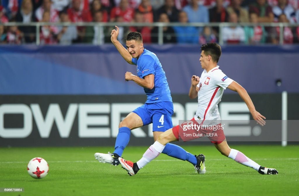 Martin Valjent of Slovakia scores his team's first goal during the UEFA European Under-21 Championship match between Poland and Slovakia at Lublin Stadium on June 16, 2017 in Lublin, Poland.