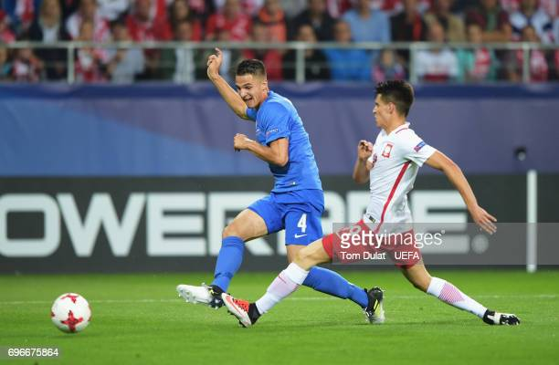 Martin Valjent of Slovakia scores his team's first goal during the UEFA European Under21 Championship match between Poland and Slovakia at Lublin...