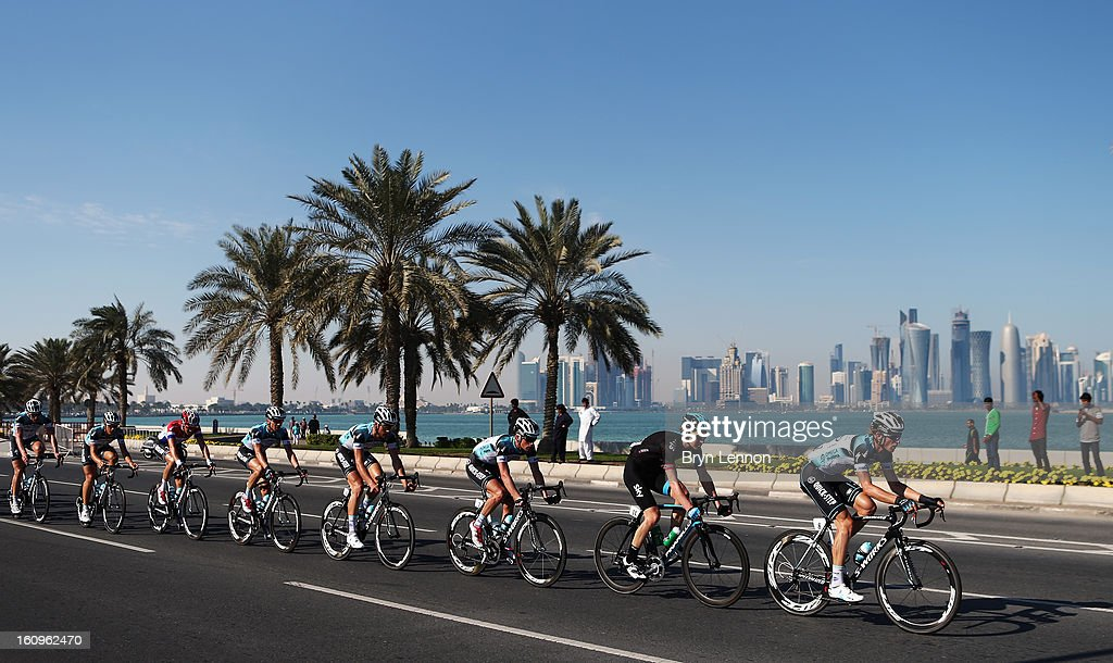 Martin Velits of Slovakia and Omega Pharma - Quick Step leads the pelton during stage six of the 2013 Tour of Qatar from Sealine Beach Resort to Doha Corniche on February 8, 2013 in Doha, Qatar.