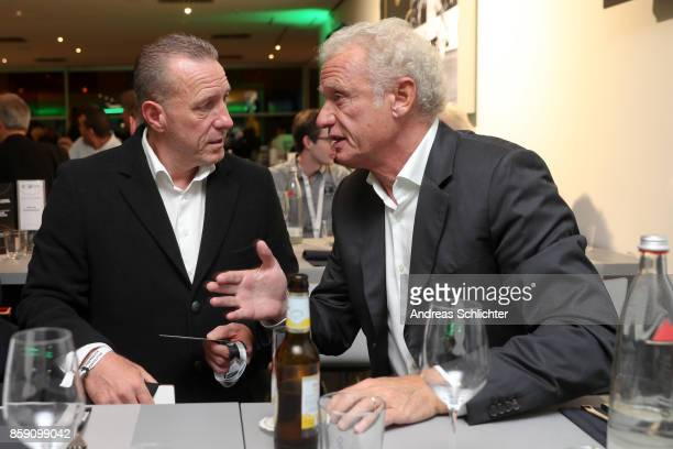 Martin Wagner and HansPeter Briegel at the club of former national players meeting during the FIFA 2018 World Cup Qualifier between Germany and...