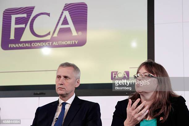 Martin Wheatley chief executive officer of the UK Financial Conduct Authority left listens as Tracey McDermott director of enforcement and financial...