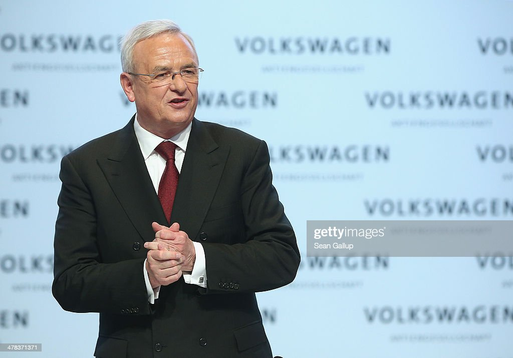 <a gi-track='captionPersonalityLinkClicked' href=/galleries/search?phrase=Martin+Winterkorn&family=editorial&specificpeople=840091 ng-click='$event.stopPropagation()'>Martin Winterkorn</a>, Chairman of German carmaker Volkswagen AG, departs after speaking at the company's annual press conference to announce financial results for 2013 on March 13, 2014 in Berlin, Germany. Volkswagen Group delivered over nine million vehicles worldwide in 2013.