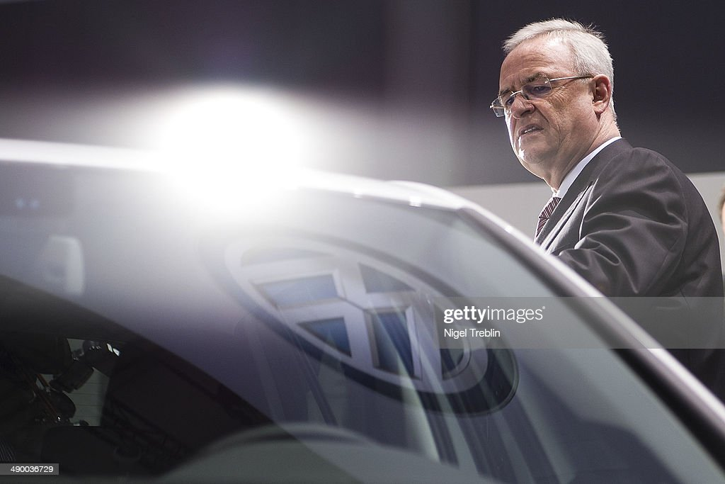 Martin Winterkorn, Chairman of German carmaker Volkswagen AG, looks arround at a car exhibition ahead of Volkswagen annual shareholder meeting on May 13, 2014 in Hanover, Germany. Volkswagen presents the newest company results at the annual shareholder meeting.