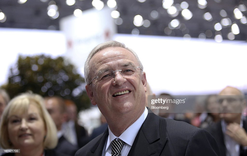 Martin Winterkorn, chief executive officer of Volkswagen AG, poses for a photograph at the company's annual general meeting (AGM) in Hanover, Germany, on Thursday, April 25, 2013. Volkswagen AG, Europe's biggest automaker, aims to offset plunging European demand this year by rolling out 60 new and updated models, including luxury cruisers like the Bentley Flying Spur. Photographer: Chris Ratcliffe/Bloomberg via Getty Images