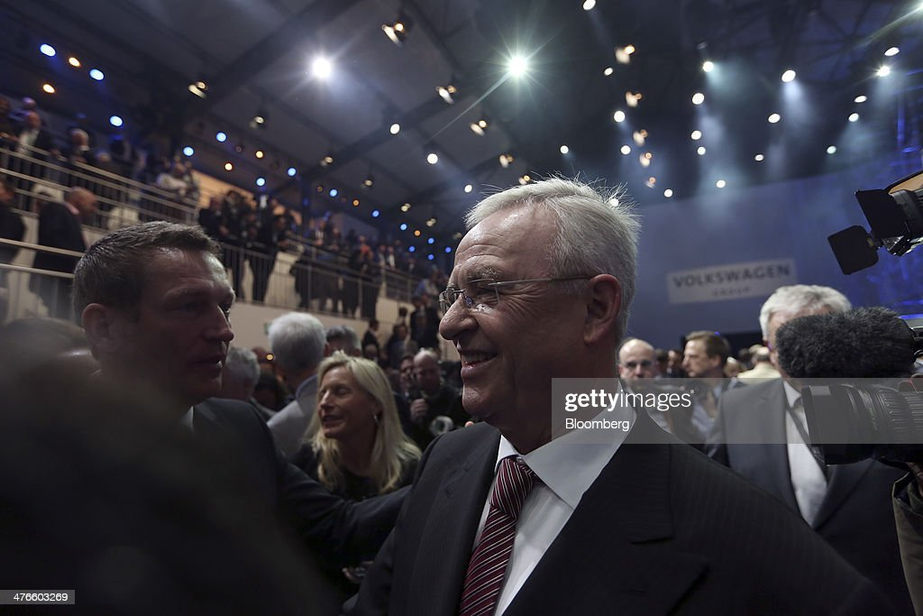 <a gi-track='captionPersonalityLinkClicked' href=/galleries/search?phrase=Martin+Winterkorn&family=editorial&specificpeople=840091 ng-click='$event.stopPropagation()'>Martin Winterkorn</a>, chief executive officer of Volkswagen AG, reacts as he talks to members of the media following a news conference ahead of the opening day of the 84th Geneva International Motor Show in Geneva, Switzerland, on Monday, March 3, 2014. The International Geneva Motor Show will run from Mar. 4, and showcase the latest models from the world's top automakers. Photographer: Chris Ratcliffe/Bloomberg via Getty Images