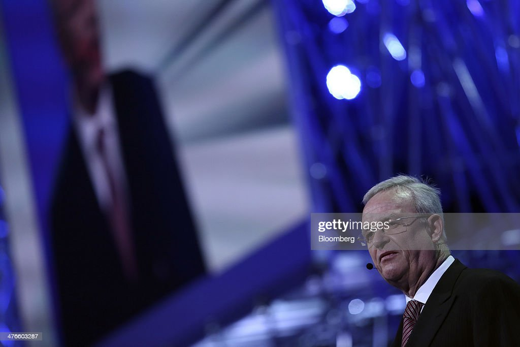 <a gi-track='captionPersonalityLinkClicked' href=/galleries/search?phrase=Martin+Winterkorn&family=editorial&specificpeople=840091 ng-click='$event.stopPropagation()'>Martin Winterkorn</a>, chief executive officer of Volkswagen AG, speaks during a news conference ahead of the opening day of the 84th Geneva International Motor Show in Geneva, Switzerland, on Monday, March 3, 2014. The International Geneva Motor Show will run from Mar. 4, and showcase the latest models from the world's top automakers. Photographer: Chris Ratcliffe/Bloomberg via Getty Images