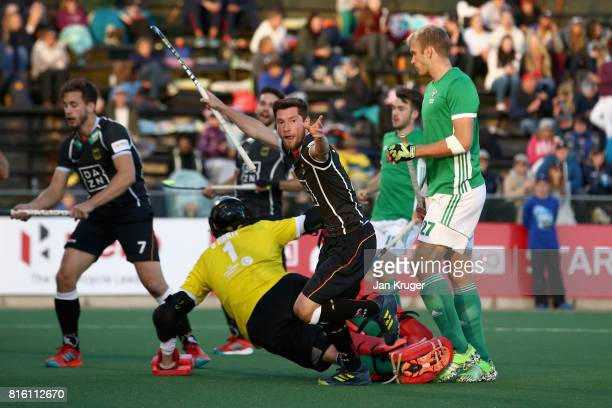 Martin Zwicker of Germany celebrates scoring a goal during the Group B match between Germany and Ireland on day five of the FIH Hockey World League...