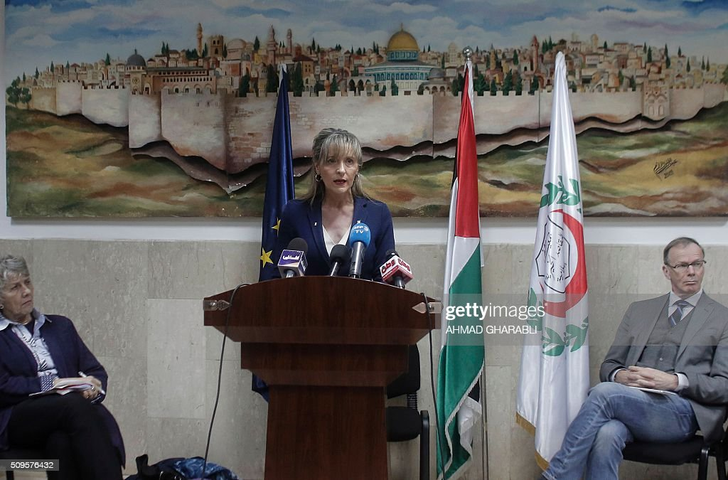 Martina Anderson, member of the European Parliament and chair of the European Parliament delegation for relations with Palestine, speaks during a press conference at the Makassed hospital in East Jerusalem, on February 11, 2016. / AFP / AHMAD GHARABLI