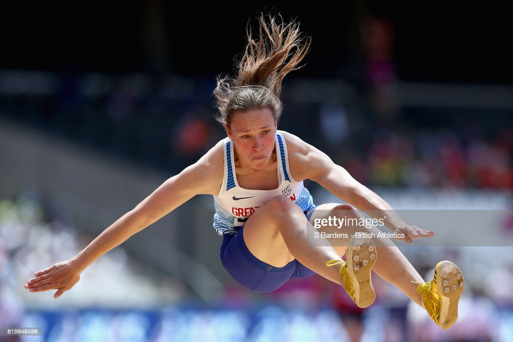 Martina Barber of Great Britain competes in the Women's Long Jump T20 Final during Day Four of the IPC World ParaAthletics Championships 2017 London at London Stadium on July 17, 2017 in London, England.