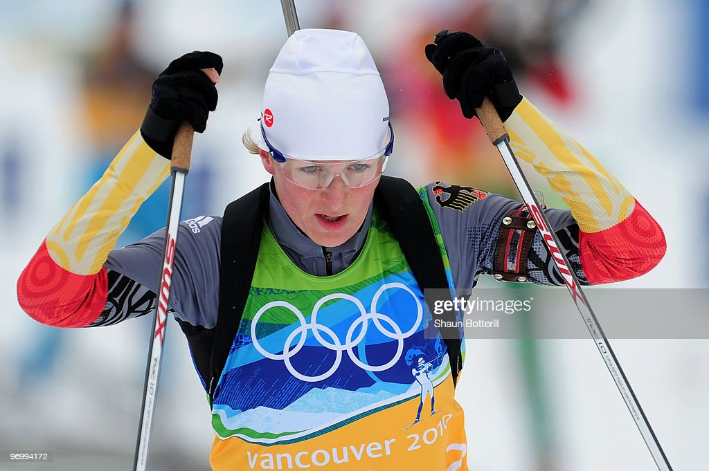 <a gi-track='captionPersonalityLinkClicked' href=/galleries/search?phrase=Martina+Beck&family=editorial&specificpeople=5543827 ng-click='$event.stopPropagation()'>Martina Beck</a> of Germany competes during the women's biathlon 4 x 6km relay on day 12 of the 2010 Vancouver Winter Olympics at Whistler Olympic Park Cross-Country Stadium on February 23, 2010 in Whistler, Canada.