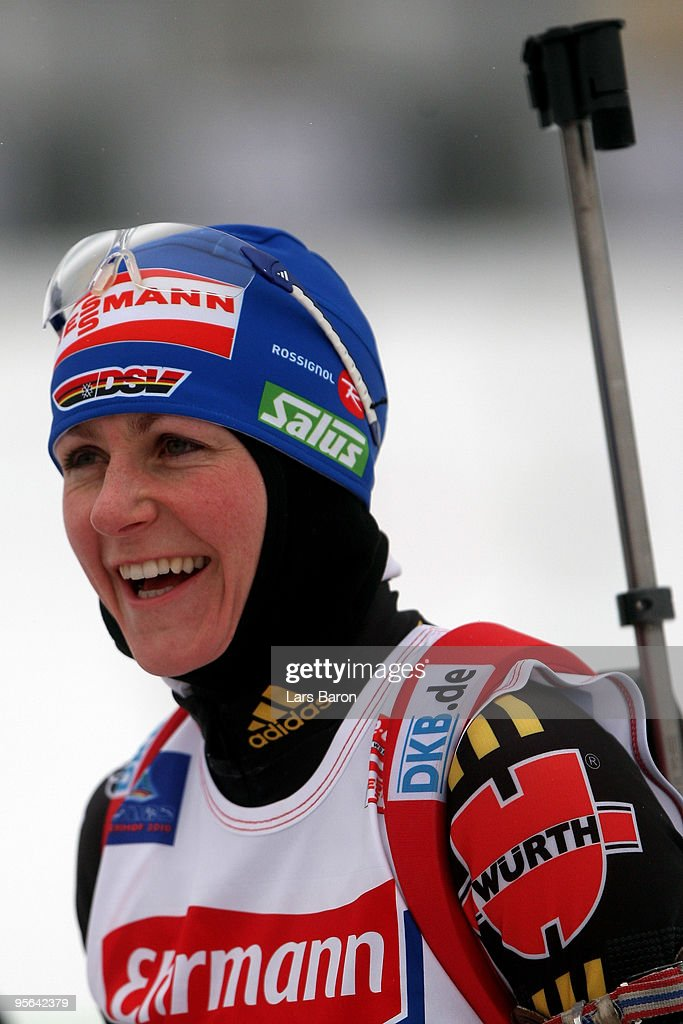 <a gi-track='captionPersonalityLinkClicked' href=/galleries/search?phrase=Martina+Beck&family=editorial&specificpeople=5543827 ng-click='$event.stopPropagation()'>Martina Beck</a> of Germany smiles prior to the Women's 7,5km Sprint in the e.on Ruhrgas IBU Biathlon World Cup on January 8, 2010 in Oberhof, Germany.