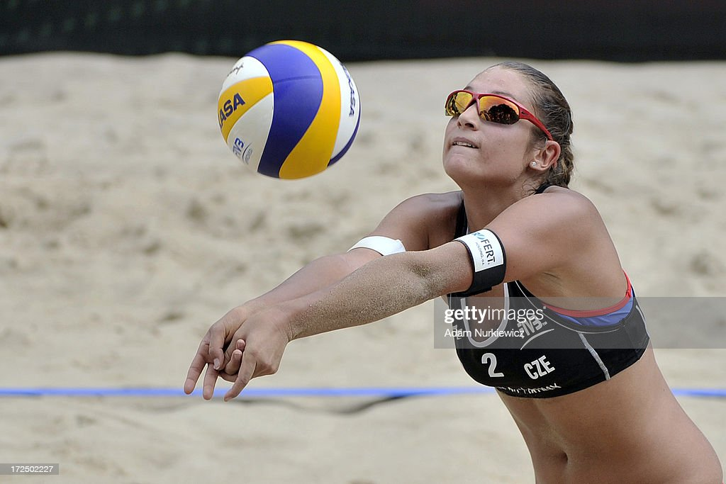 Martina Bonnerova of Czech Republic saves the ball during Day 2 of the FIVB World Championships on July 2, 2013 in Stare Jablonki, Poland.