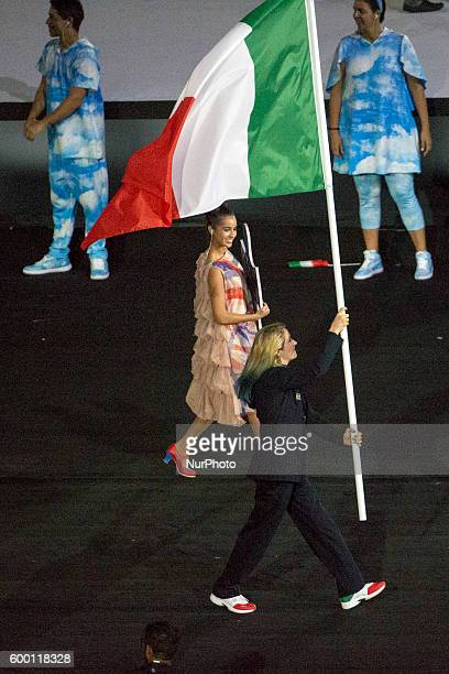 Martina Caironi flag bearer for italian team during the Paralympic Games opening ceremony held in Rio de Janeiro Brasil on