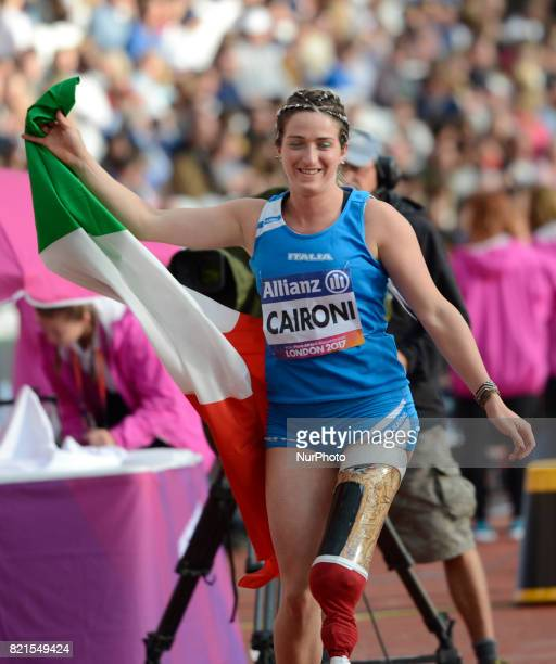 Martina Caironi of Italy celebrate winning Gold Medal Women's Long Jump T42 Final during World Para Athletics Championships at London Stadium in...